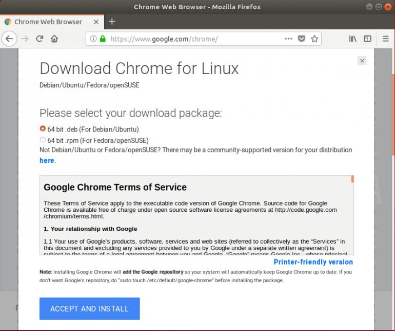 Google Chrome install